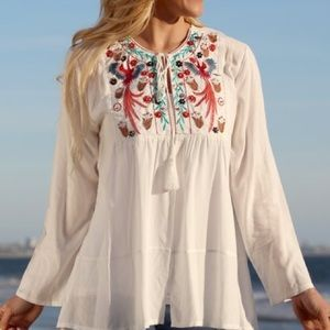 White Embroidered Tassel-Tie Open Front Top M